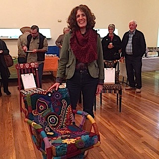 Debbie Gardner with her incredible crocheted chair, which was voted to be the Crowd Favorite at the 2016 Art Chairs & More auciont.
