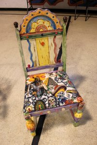 Day of the Dead chair by Charlie Onehorse.