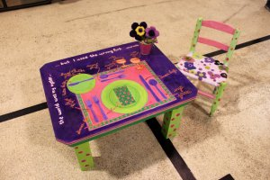 A child's table and chairs, complete with instructions, by MJ Bank.